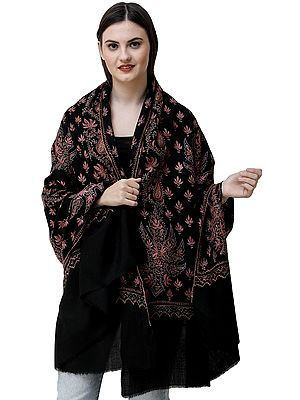 Jet-Black Kashmiri Tusha Shawl with Hand Needle-Embroidered Chinar Leaves and Paisleys