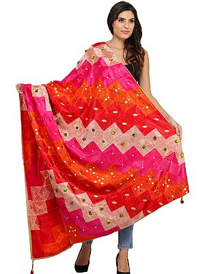 Embroidered Phulkari Dupatta from Punjab with Embellished Beads and Sequins