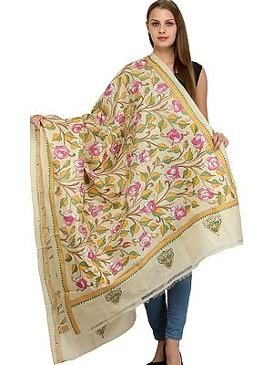 Dupatta from Bengal with Kantha Embroidered Roses All-Over