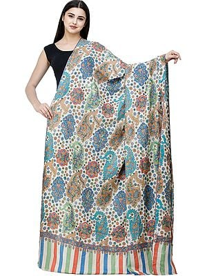 Wood-Ash Handloom Printed Pure Pashmina Shawl from Kashmir with Sozni Floral Embroidery All-Over