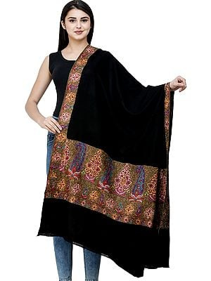 Caviar-Black Plain Pashmina Handloom Shawl from Kashmir with Intricate Sozni Embroidered Paisleys on Border