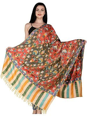 Multicolor Kashmiri Hand-woven Pure Pashmina Kani Shawl with Paisleys and Motifs in Multicolor Thread