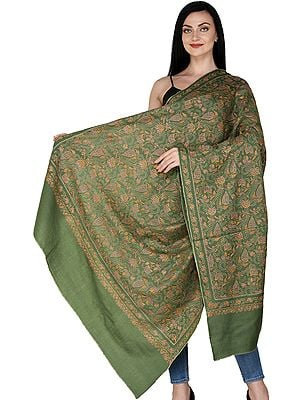Tusha Shawl from Kashmir with Sozni Embroidered Multicolor Floral vines All Over