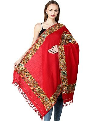 Stole From Kashmir with Ari Hand-Embroidered Mandala and Border