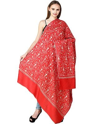 Kashmiri Tusha Shawl with Sozni Embroidered Floral Vines in Multicolor Thread
