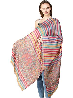 Kani Stole from Amritsar with Woven Paisleys and Stripes in Multicolor Thread