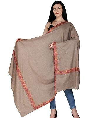 Almondine Plain Pashmina Handloom Shawl from Kashmir with Sozni Embroidered Border