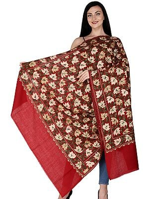 Shawl from Amritsar with Ari Embroidered Chinar Leaves All-Over