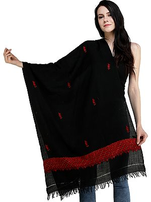 Plain Stole from Kashmir with Ari Hand-Embroidered Paiselys on Border
