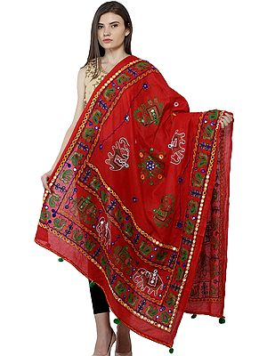 Printed Dupatta from Kutch with Hand-Embroidered Peacocks and Elephants