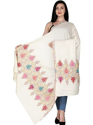 Afterglow Pure Pashmina Shawl from Kashmir with Sozni Embroidered Border