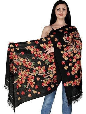 Kashmiri Ari Stole with Hand-Embroidered Tree of Life by Hand
