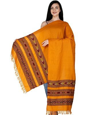 Apricot-Cream Stole from Kullu with Kinnauri Woven Triple Border