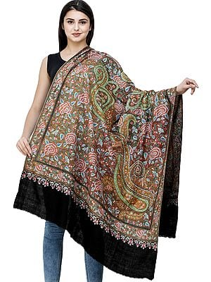 Caviar-Black Pure Pashmina Handloom Shawl from Kashmir with Sozni Embroidery All-Over