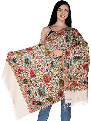 Kashmiri Stole with Ari Hand-Embroidered Flowers All-Over