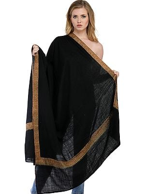 Caviar-Black Plain Pashmina Handloom Shawl from Kashmir with Sozni Embroidered Border