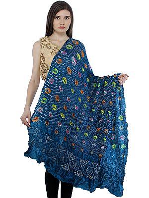 Ocean-Depths Bandhani Tie-Dyed Gajji Dupatta  from Gujarat