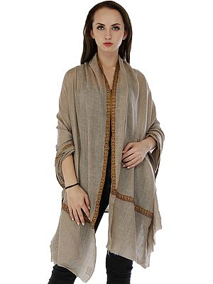 Wood-Smoke Plain Pashmina Handloom Shawl from Kashmir with Sozni Embroidered Border