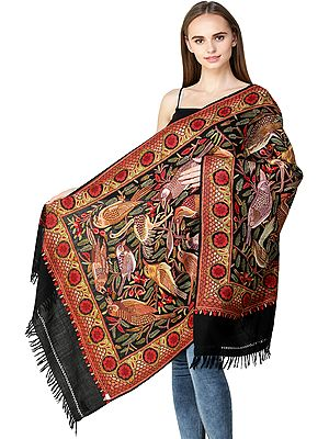 Jet-Black Stole from Kashmir with Ari Embroidered Birds and Flowers