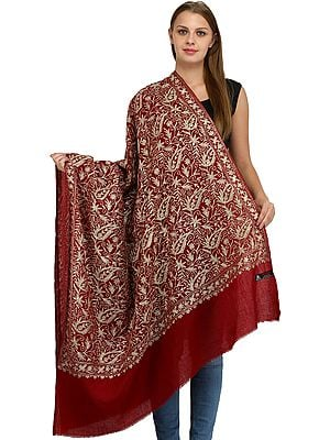 Shawl from Amritsar with Zari Embroidered Paiselys and Bootis