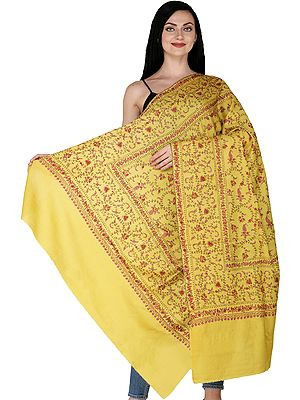 Warm-Olive Kashmiri Cashmere Shawl with Sozni Embroidered Flower Vines All-Over