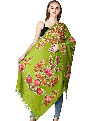 Dark-Citron Kashmiri Stole with Ari Hand-Embroidered Flowers All-Over