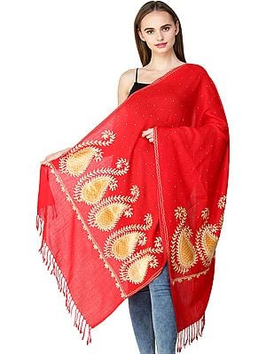 Stole from Amritsar with Ari-Embroidered Paisleys on Border and Crystals