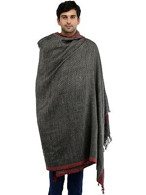 Kullu Palla Men's Shawl with Kinnauri Woven Border in Multicolor Thread