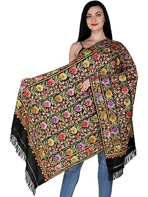 Jet-Black Kashmiri Shawl with Ari Hand-Embroidered Floral Vines in Multicolor Thread