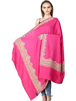 Pure Wool Shawl from Amritsar with Ari-Embroidered Paisleys on Border and Beads