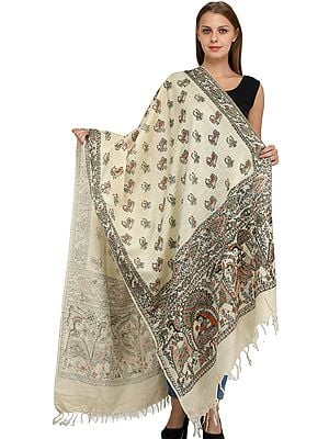 Dupatta from Jharkhand with Printed Madhubani Marriage Procession