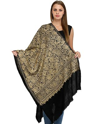 Phantom-Black Stole from Amritsar with Ari-Embroidered Paiselys in Beige Thread