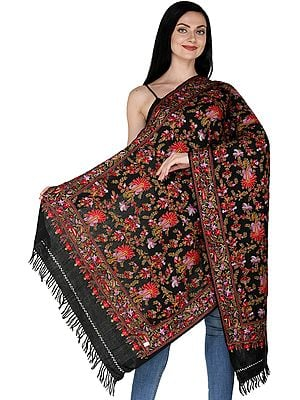Caviar-Black Stole from Kashmir with Ari Embroidered Florals and Paisleys in Multicolor Thread