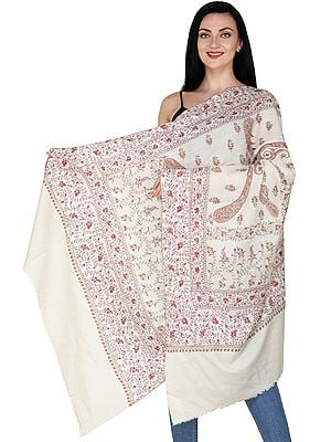 White-Smoke Cashmere Shawl from Kashmir with Sozni Embroidered Paisleys