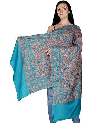 Kashmiri Stole with Sozni Embroidered Florals In Geometric Pattern