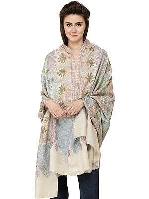 Pearled-Ivory Pure Pashmina Handloom Shawl from Kashmir with Sozni Floral Embroidery