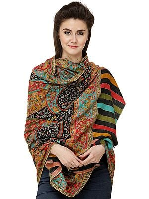 Caviar-Black Pure Pashmina Shawl from Kashmir with Kalamkari Embroidery All-Over