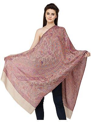 Cashmere Jamawar Stole with Woven Paisleys and Florals