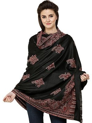 Jamawar Shawl with Woven Border and Paisleys All-Over