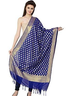 Banarasi Brocaded Dupatta with Polka Dots and Border Weave in Zari Thread