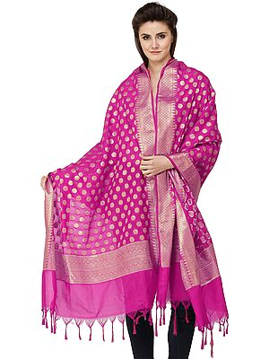 Banarasi Brocaded Dupatta with Polka Dots and Border Weave in Zari Thread