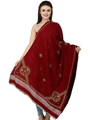 Shawl from Kutch with Multicolored Thread Embroidered Chakra and Mirrors