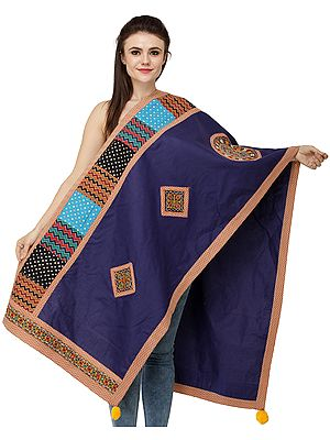 Printed Dupatta from Kutch with Embroidered Patchwork and Mirrors