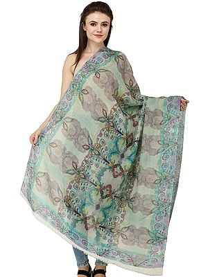 Loden-Frost Digital-Printed Shawl from Amritsar