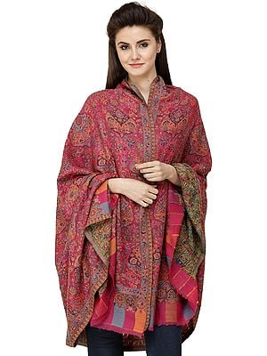 Fuchsia-Rose Kani Printed Jamawar Shawl from Amritsar