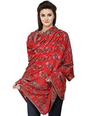 Bittersweet-Red Kani  Jamawar Shawl with Roses Woven All-Over