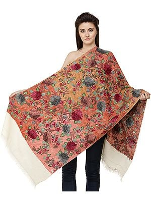 Banana-Cream Stole from Kashmir with Heavy Ari Hand-Embroidered Multicolor Flowers