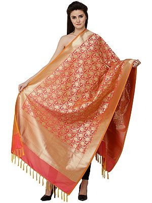 Brocaded Dupatta from Banaras with Marigold Flowers Weave in Zari Thread