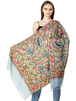 Dusk-Blue Stole from Kashmir with Ari Hand-Embroidered Flowers and Birds
