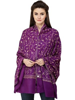 Pashmina Stole from Kashmir with Ari-Embroidered Flower Vines All-Over
